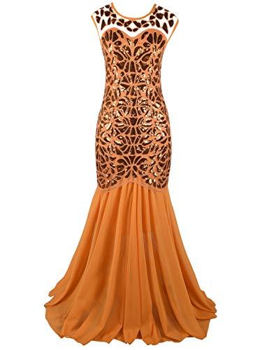 PrettyGuide Women 's 1920s Sequin Gatsby Plus Size Formal Evening Prom Dress XXL Orange