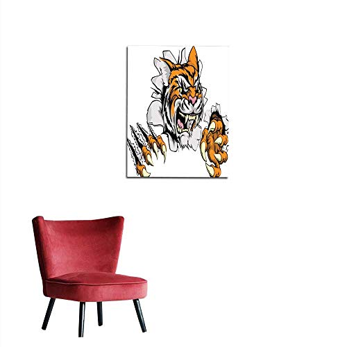 longbuyer Wall Picture Decoration Tiger Mascot Claw Breakthrough Mural 32