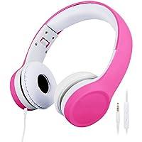 [Patrocinado] misognare niños auriculares con cable auriculares volumen limitada para niños Rosado