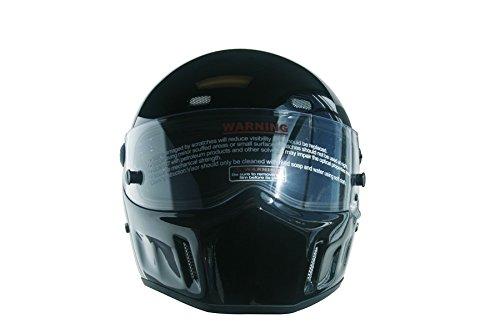 CRG Sports ATV Motocross Motorcycle Scooter Full-Face Fiberglass Helmet DOT Certified ATV-1 Glossy Black Size Large