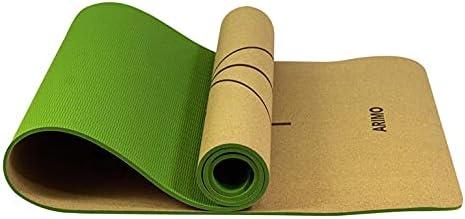 ARIMO Tapete de Cortiça e TPE Yoga Mat Antiderrapante Ecológico Biodegradável Todos Os Tipos de Yoga/Pilates 181 x 61 cm x 6 mm (Verde com Linhas)