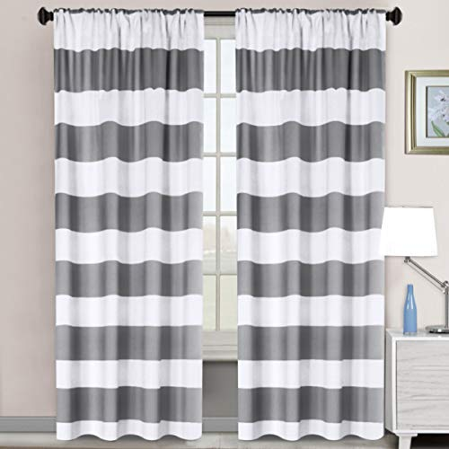 riped Rod Pocket Blackout Window Curtains Thermal Insulated Grey and Pure White Striped Curtains for Bedroom 52W X 84L 2 Panels ()