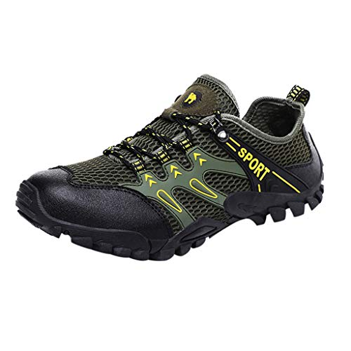 Price comparison product image Men Athletic Water Shoes Aqua Shoes - Breathable Quick-Dry Anti-Skid and Wear-Resistant Outdoor Sports Hiking Shoes (Green,  8.5 M US)