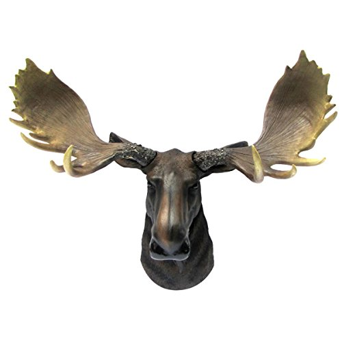 (Wall Mount North American Moose Bust Man Cave/Cabin/Lodge Fake Taxidermy Decor)