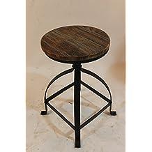 Vintage Bar Stools Metal Frame Wood Top Adjustable Height Swivel Industrial Round Seat Dinning Chair