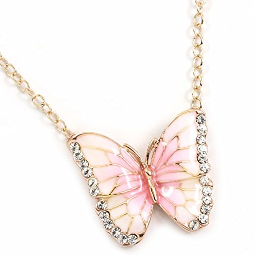 - FC Yellow Gold Plated Crystal Pink Butterfly Pendant Necklace