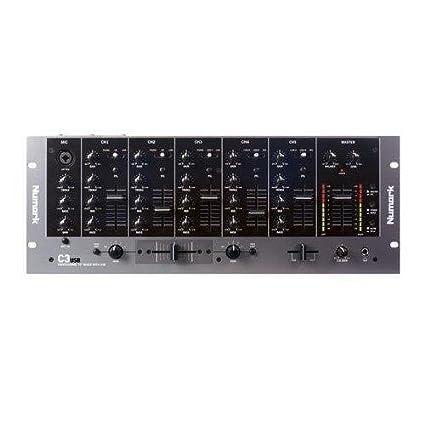 Numark C3USB - Mezclador de DJ de Rack y Portátil de 5 Canales con Interfaz de