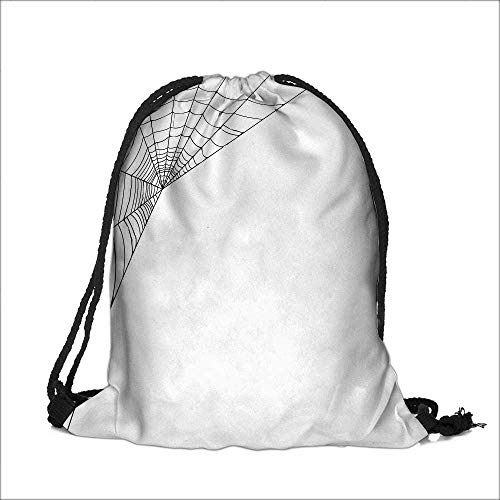 Draw pocket Polyester Backpack Web Icon Background Abstract Form Halloween Scary Evil Themed Illustration Black White with Large Pocket and Draw Strings 13