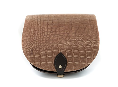Tan Farbe und Schwarz Krokodil-Musterer Leder Sattel Crossbody Handtasche mit Schnalle und verstellbarem Riemen