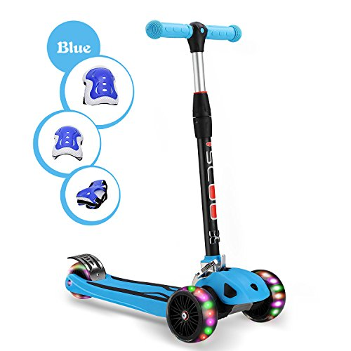 "Kids Kick Scooter Childern Outdoor Toy/LED Flicker 2""widthX3 PU Flashing 3 Big Wheels/Pedal with Stainless Steel/Folding 4 Adjustable Height T Bar/Safety Gravity Steering /4-13 Years Old Blue"
