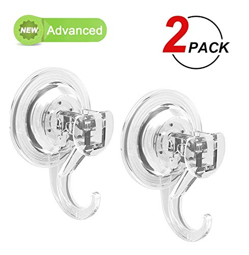 (LUXEAR Suction Cup Hooks, Heavy Duty Shower Hooks, Removable Shower Suction Hooks for Towel Bathroom, Powerful Suction Hooks for Windows Glass Loofah Kitchen - No Drilling,No Screws, No Holes - 2 PACK)