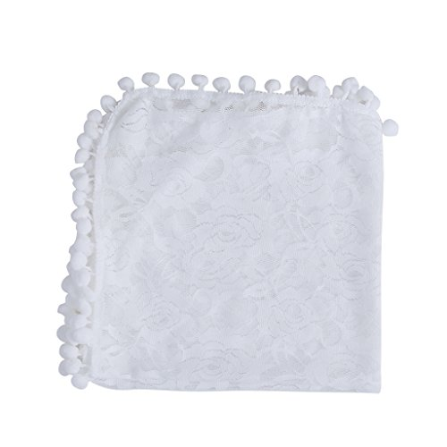 cici store Newborn Baby Infant Tassel Lace Wrap Blanket Rug Photography Photo Props (white)