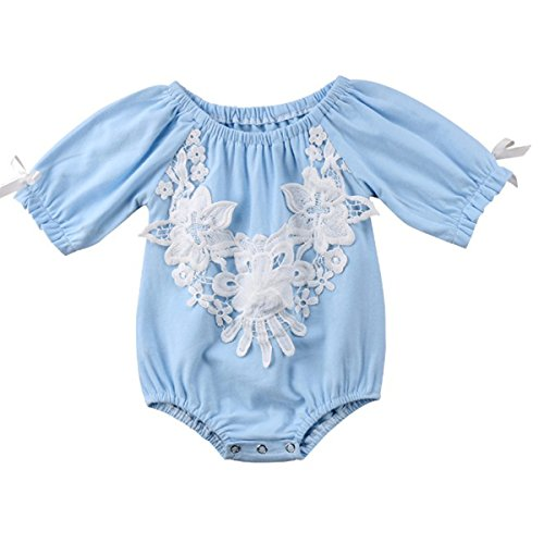 Borlai Baby Girls Romper Cotton Lace Floral Applique Jumpsuit Clothes Infant Toddler (6M-12M)