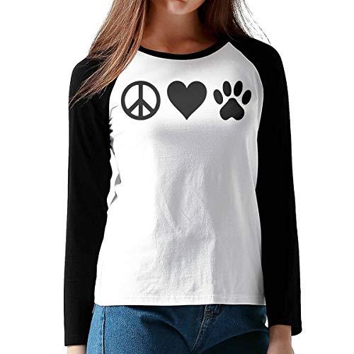 Peace Love Pets Dog Cat Pet Women's Ladie's Raglan Long Sleeve Baseball T-Shirt Blouse Tops