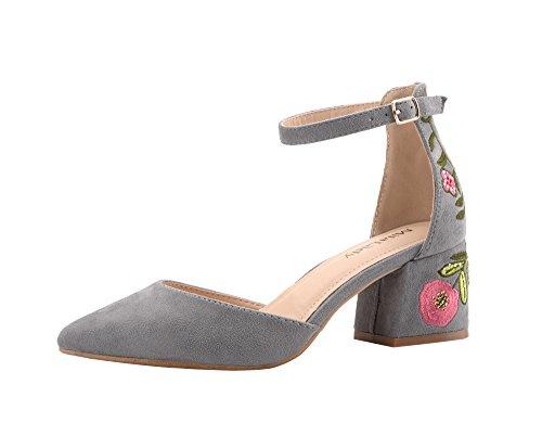 (Mila Lady (Phoenix D'Orsay A Slim Ankle Strap Floral Embroidered Chunky Elegance Platform Lady Heels !)