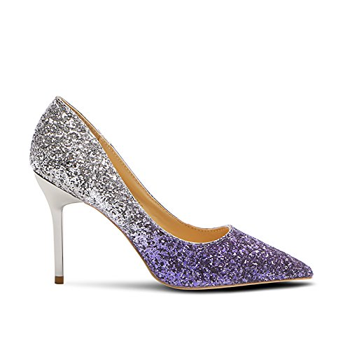 Gradient Mouth With Women'S Jqdyl Shoes High Purple Wedding With heels High 5CM Silver And New Shallow Heels Sequins Silver Pointed 5 Autumn Spring Fine Shoes q6pHOq