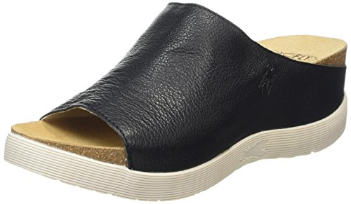 FLY London Womens Wigg Mousse Sandals Open Toe Leather Mules Wedge Heel - Black/Off White - 11