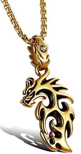 Ostan Stainless Steel Cute Fashion Gold Dragon Pendant Chain Mens Necklace