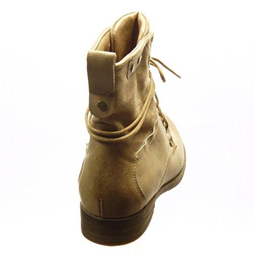 Angkorly - Chaussure Mode Bottine rangers femme lacets clouté Talon bloc 3 CM - Intérieur Fourrée - Beige