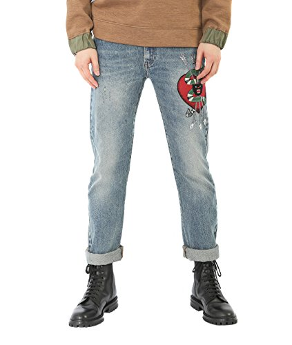 Gucci Men Pants (Wiberlux Gucci Snake Heart Embroidered Patch Jeans 32 Blue)