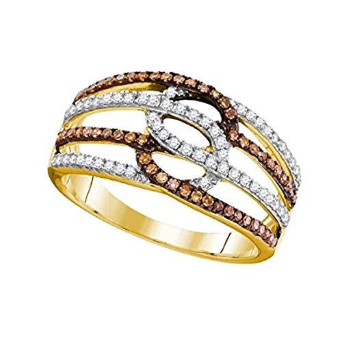 Roy Rose Jewelry Ladies Cognac-Brown Colored Diamond Linked Loop Band Ring 3/8 Carat tw ~ Size 7, in 10K Yellow Gold from