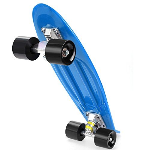 Kaluo Unisex 22 Inch Complete Deck Longboard Skateboard Crusier Mini Plastic Multiple Colors(US Stock) (blue+black)