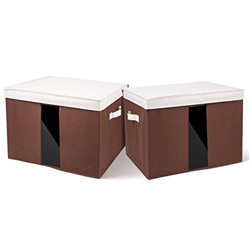 Large Foldable Box (HOMFA 60L Foldable Large Storage Box with Lid Fabric Cloth Storage Basket Bins Multipurpose Organizer Cubes with Clear Window and Dual Handles, 2 pack)