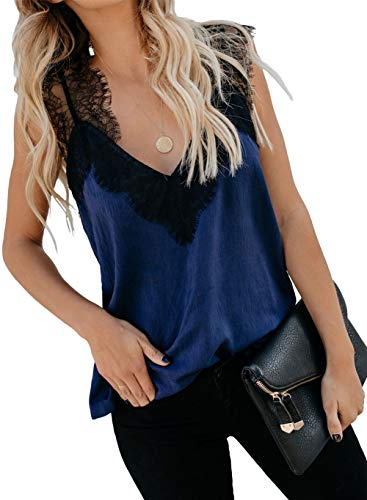 Womens Cute Tank Top Sexy V Neck Camisole Hollow-Out Back Sleeveless Strappy Lace Blouse Shirts Blue M