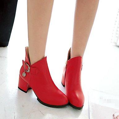 Blanco Rojo Robusto Tacón amp;xuezi Tacones Pu Gll Red Negro Mujer Confort Cms Casual 2'5 Bajo Primavera 4'5 4qwzBvxf