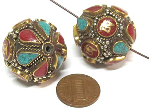 (2 Beads - Large Oval Ball Shape Tibetan Om Brass Filigree Bead with Turquoise Coral Inlay -)
