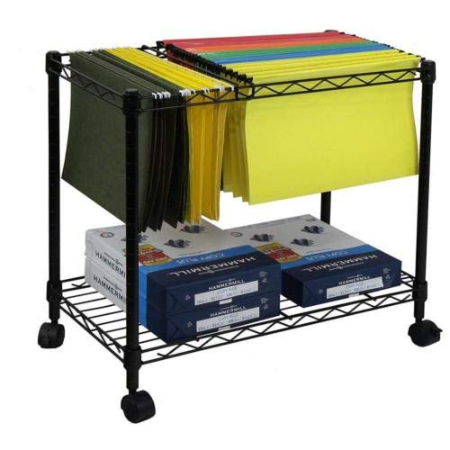 - Wegi King Mobile File Cart Wire Metal Rolling Letter Legal 1-Tier File Carts Compact Swivel File Storage Organizer Shelf - Black