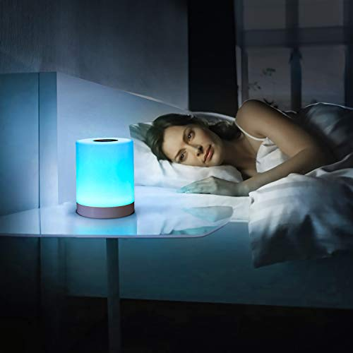 buways Night Light, LED Table Lamp with Touch Control - Warm White Light & Color Changing RGB, Portable Rechargeable Bedside Lamp for Breastfeeding