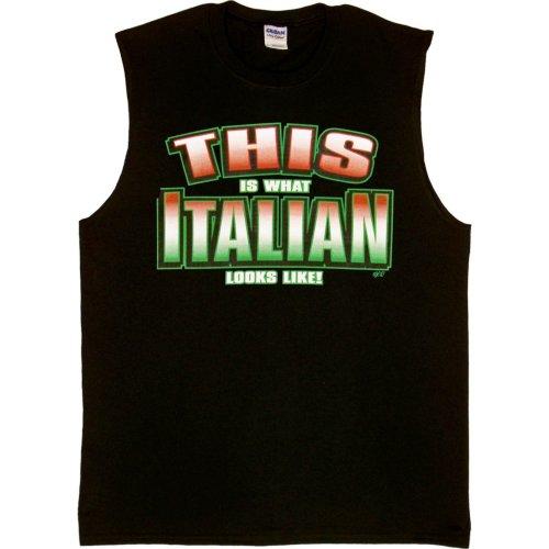 MENS SLEEVELESS T-SHIRT : BLACK - L - This is What Italian Looks Like - Ethnic -