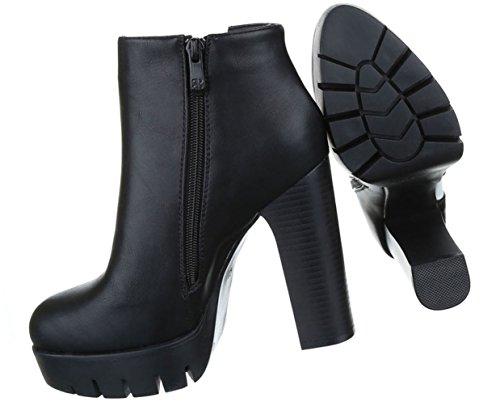 Damen Stiefeletten Schuhe Kurzschaft Zipper High Heel Stiletto Schwarz Weiß 36 37 38 39 40 41 Schwarz