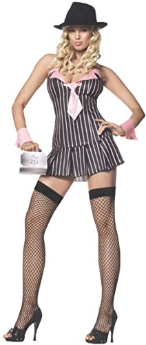 [Leg Avenue Women's Miss Mafia, X-Large, Pink Black] (Mafia Costumes Ideas)