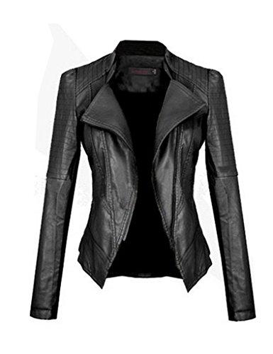 Zacoo Women Black Motorcycle PU Leather Jacket