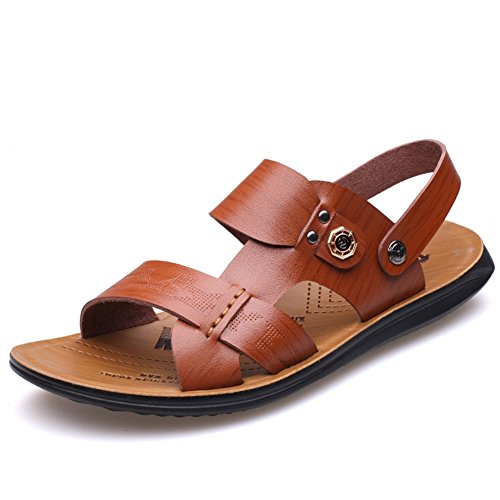 2018 New Men's Shoes Sandals Leather Spring Summer Velcro Shoes Breathable Walking Beach Shoes Khaki, Earth Yellow, Brown B