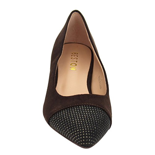 Beston Ja07 Donna Chic Tacco Grosso Borchie Deco Pompe Scarpe Marrone Scuro