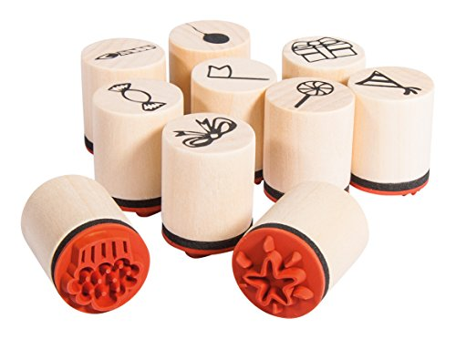 Rayher 6809800 10 Piece Wood Mounted Mini Rubber Stamp Set, Party Themed Stamps for Crafting, Card Making and Scrapbooking, Diameter 2cm, Height 2.5 cm ()