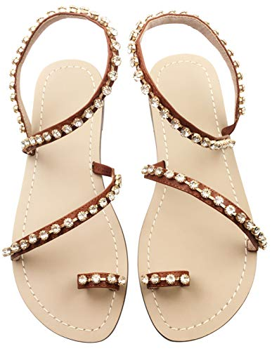 JF shoes Women's Summer Sparkle Bohemian Rhinestone Toe Ring Beach Slippers Flat Sandals Size 10.5, Brown