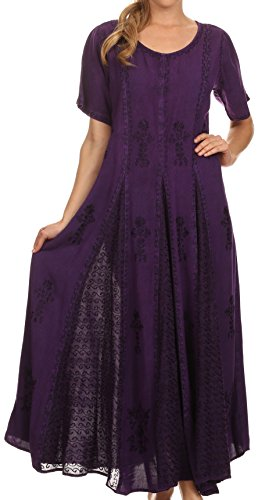 Sakkas 15227 - Hailey Cap Sleeve Caftan Long Embroidered Stonewashed Dress - Purple - 1X/2X