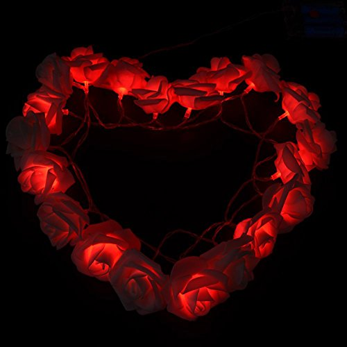 FULLBELL Fairy String Lights Red Rose Flower 20 LED Battery Operated Decorative Light for Wedding Valentine's Day Dreamlike Party Girl's Bedroom