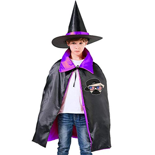(Halloween Children Costume Pug Thug Life Wizard Witch Cloak Cape Robe And Hat)