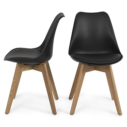 Belleze Set of (2) Modern DSW Style Molded Plastic Eiffel Wooden Legs Side Chairs w/Seat Cushion, Black