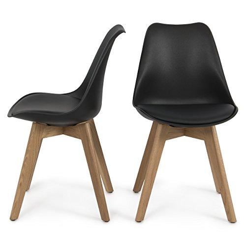 (Belleze Set of (2) Modern DSW Style Molded Plastic Eiffel Wooden Legs Side Chairs w/Seat Cushion, Black)