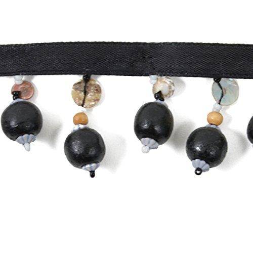 - Expo International Wooden Ball Beaded Fringe Trim, 10 yd, Black