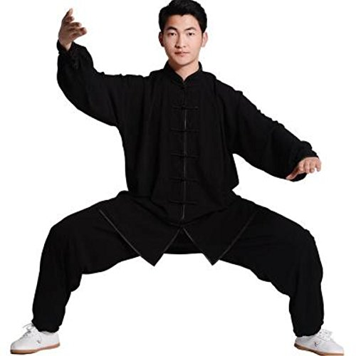 BJSFXDKJYXGS Tai Chi Uniform Luxurious Korean Cotton Silk Stretch Taichi Suits Traditional Tai Chi Clothing for Your Tai Chi Exercise (Black, XXX-Large)