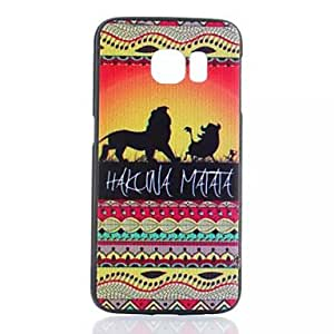 HJZ New Lions Animal Color Pattern Plastic Case for Samsung GALAXY S6 Edge