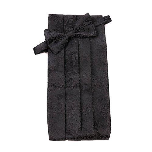 Shindek Mens Jacquard Woven Paisley Tuxedo Cummerbund And Bowtie set (black) ()