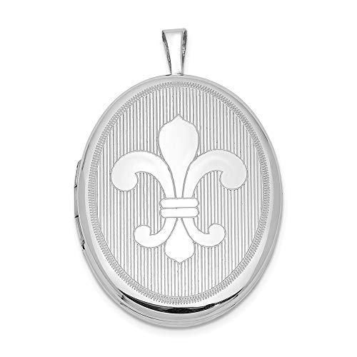 925 Sterling Silver 26mm Fleur De Lis Oval Photo Pendant Charm Locket Chain Necklace That Holds Pictures Fine Jewelry Gifts For Women For Her ()